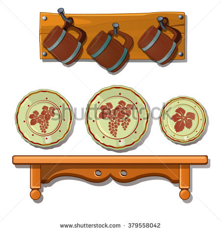 Wood Kitchen Shelf Stock Photos, Royalty.