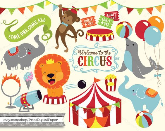 Cute Baby Circus Digital Clip Art Download illutrated graphic.