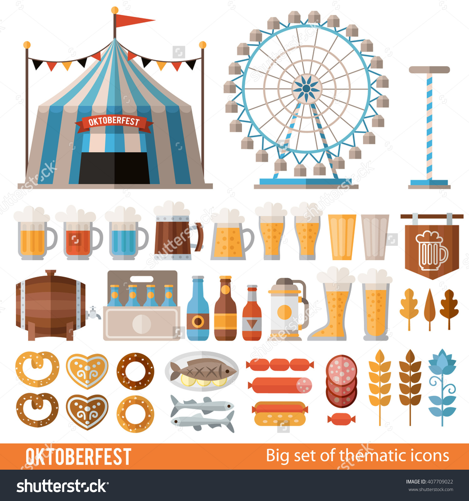 Vector Set Of Icons And Scenes For Oktoberfest. Tent, Ferris Wheel.
