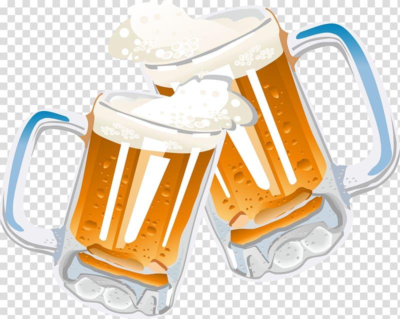 Two clear beer mugs illustration, Beer glassware Drink.