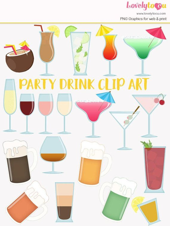 Cocktail clip art set, alcoholic drinks, wine, beer, martini.