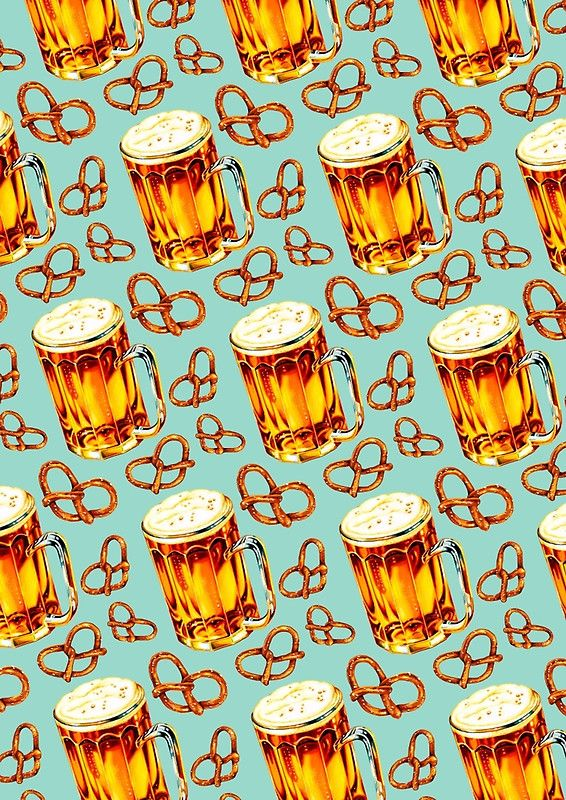 Beer & Pretzel Pattern\' Spiral Notebook by Kelly Gilleran in.