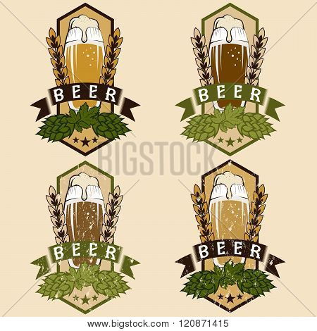 Vector Set Of Vintage Beer Labels . Concept Of Graphic Clipart.