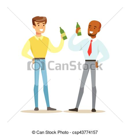 Clipart Vector of Happy Best Friends Having A Beer After Work.
