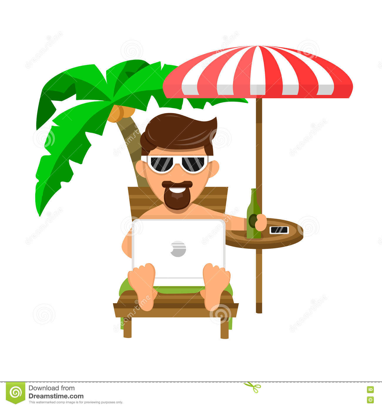 Businessman Or Freelance Man On Beach On A Lounger, Under A Palm.