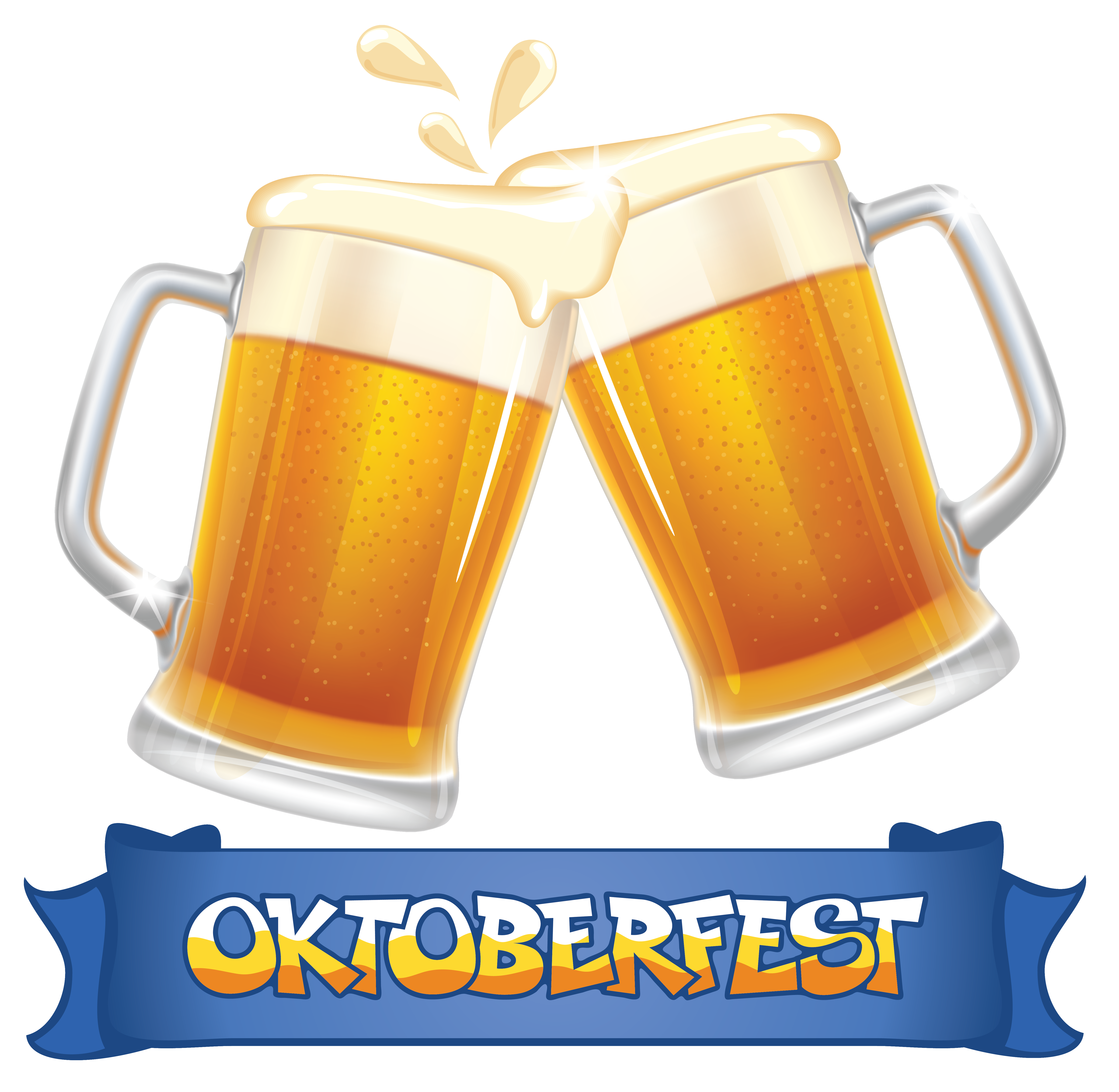 Oktoberfest Blue Banner and Beers PNG Clipart Image.
