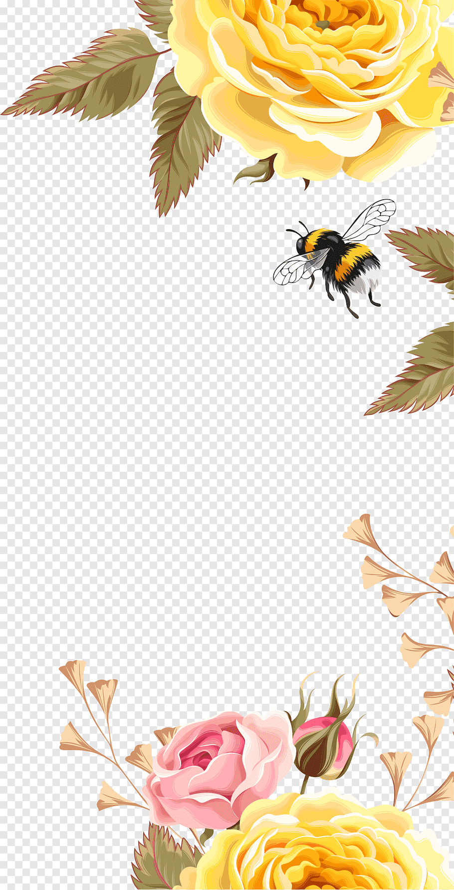 Yellow and black bee, Bee Bird Flower Pattern, Yellow.
