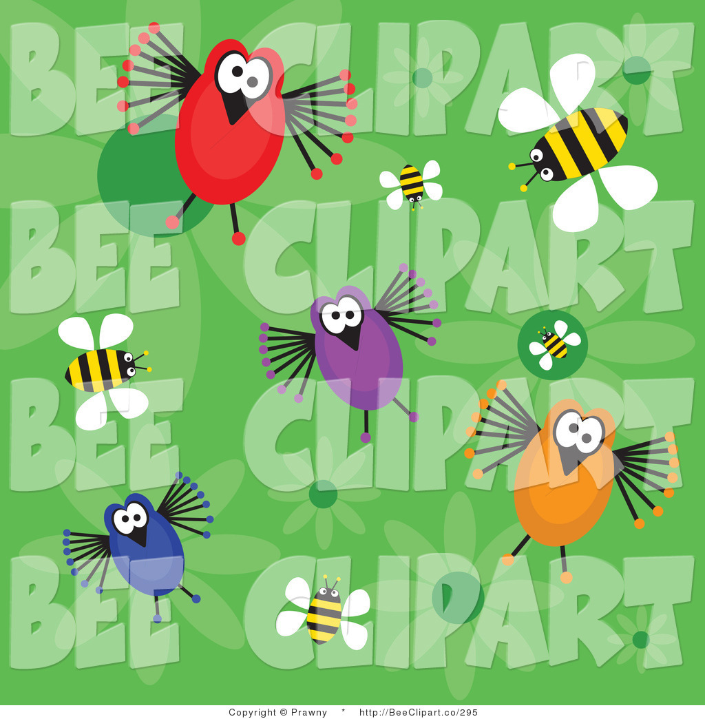 Vector Clip Art of a Green Background of Four Funny Birds.