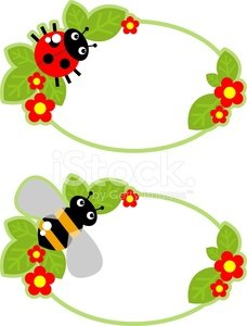 Tag with bees and butterflies Clipart Image.