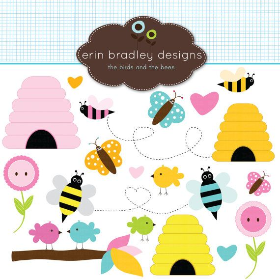 Birds Bees Clipart Clip Art for Personal & Commercial Use.
