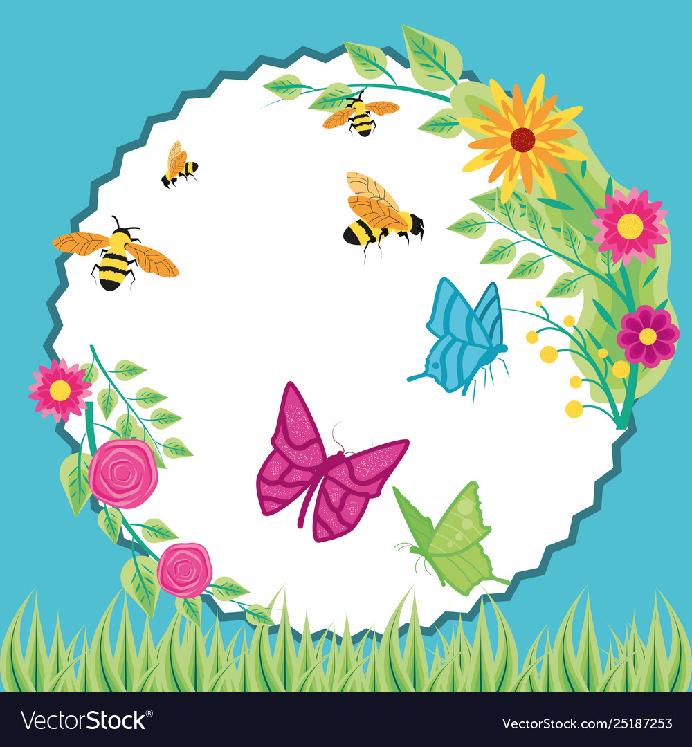 Flowers with bees and butterflies in frame.