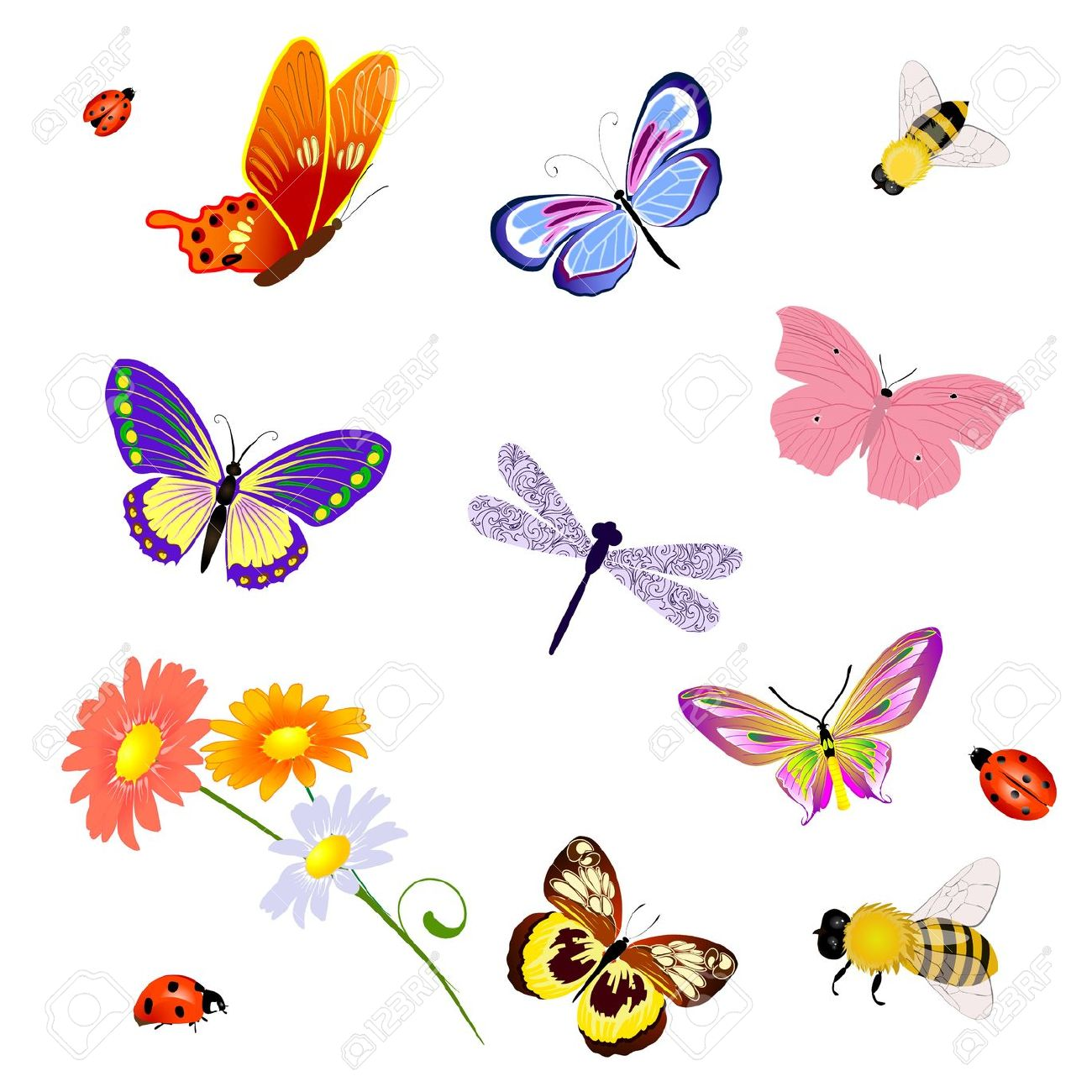 Bees And Butterflies Clipart.