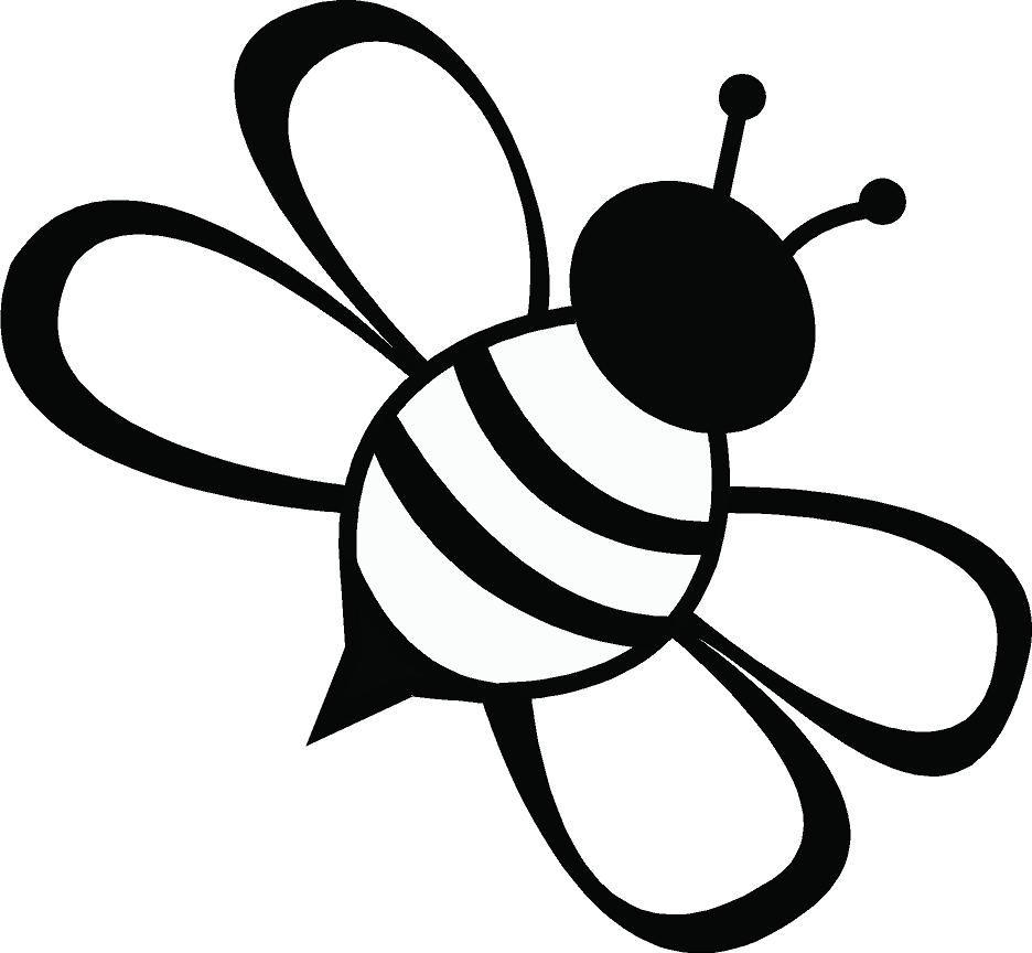 Line Drawing Simple Bee.