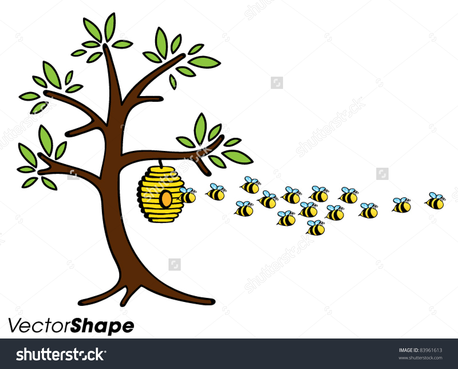 Bee Hive In Tree Clipart