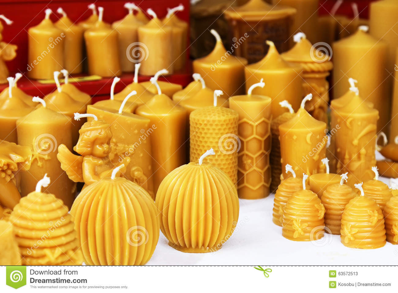 Beeswax Candles On Christmas Market Stock Photo.