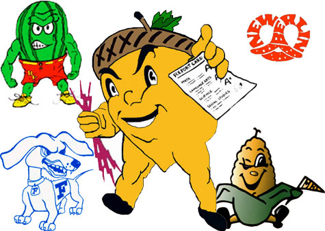 Odd HS Mascots, Funny Symbols, Characters for American High.