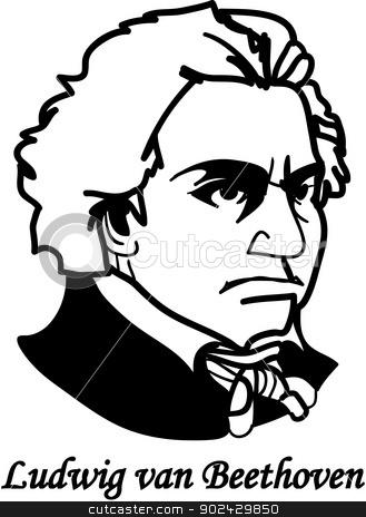 Ludvig von Beethoven (vector) stock vector.