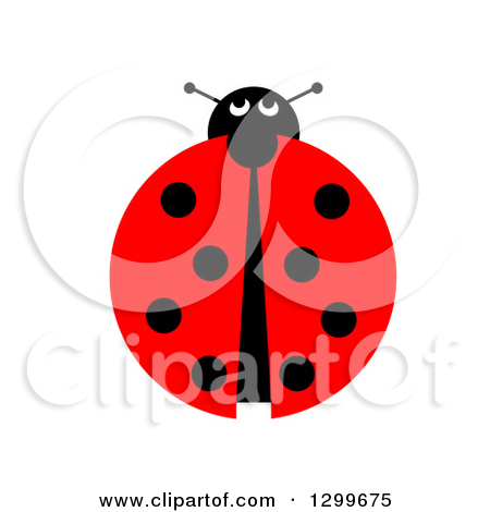 Clipart of a Lady Bug Family Trail on White.