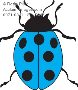 Little Blue Ladybug Royalty Free (RF) Clip Art Picture.