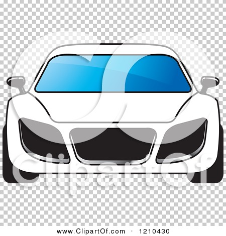 Clipart of a Front View of a White Car.