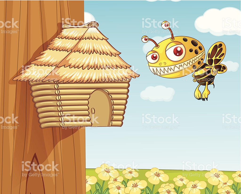 Honey Bee And Wooden House stock vector art 472314581.