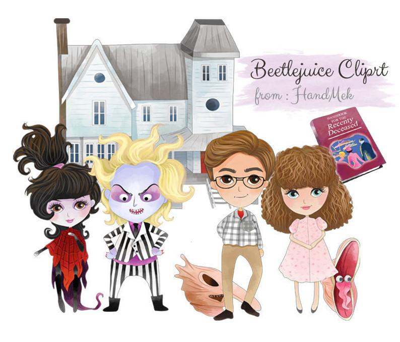 Beetlejuice characters clipart, Halloween clipart : instant download, PNG  file.