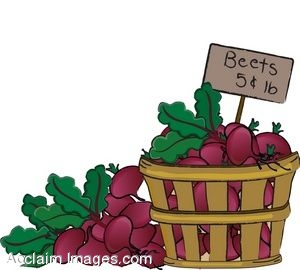 Clip Art of a Basket of Beets.