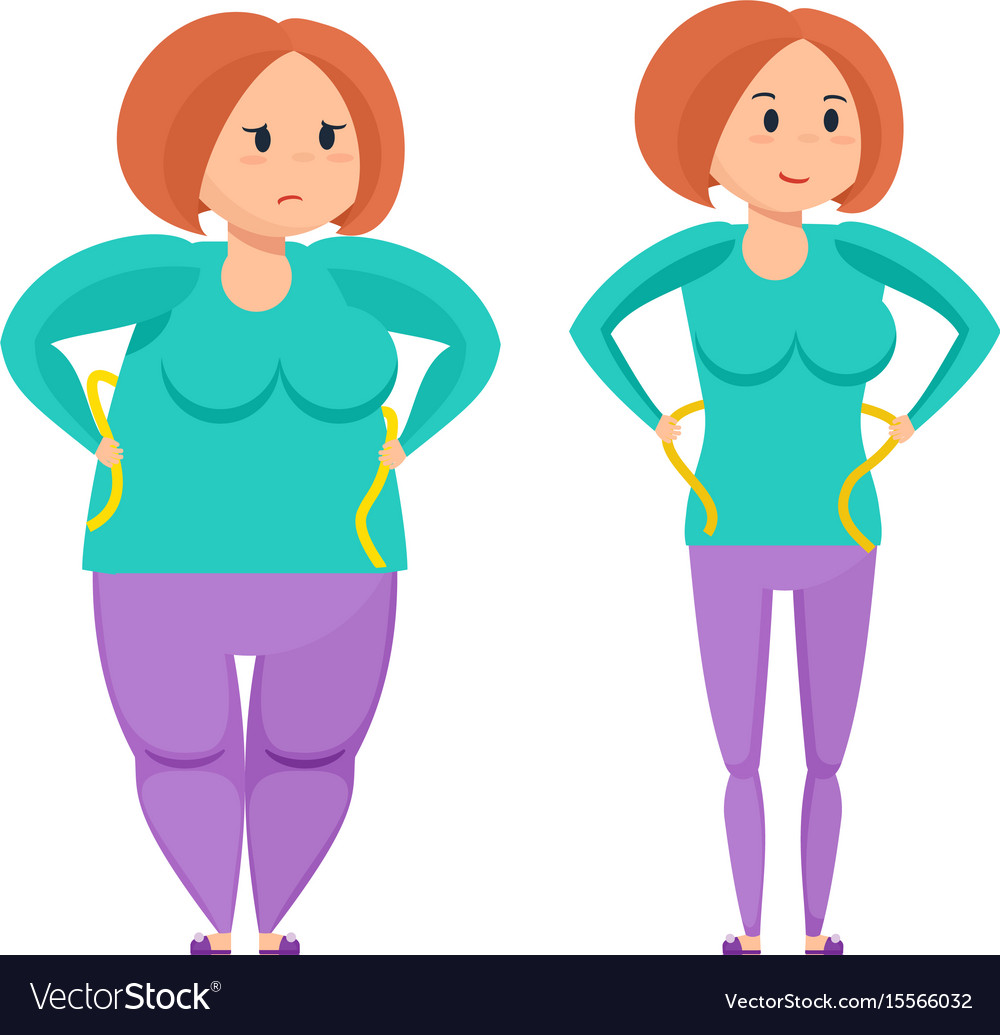 Girl before and after weight loss.