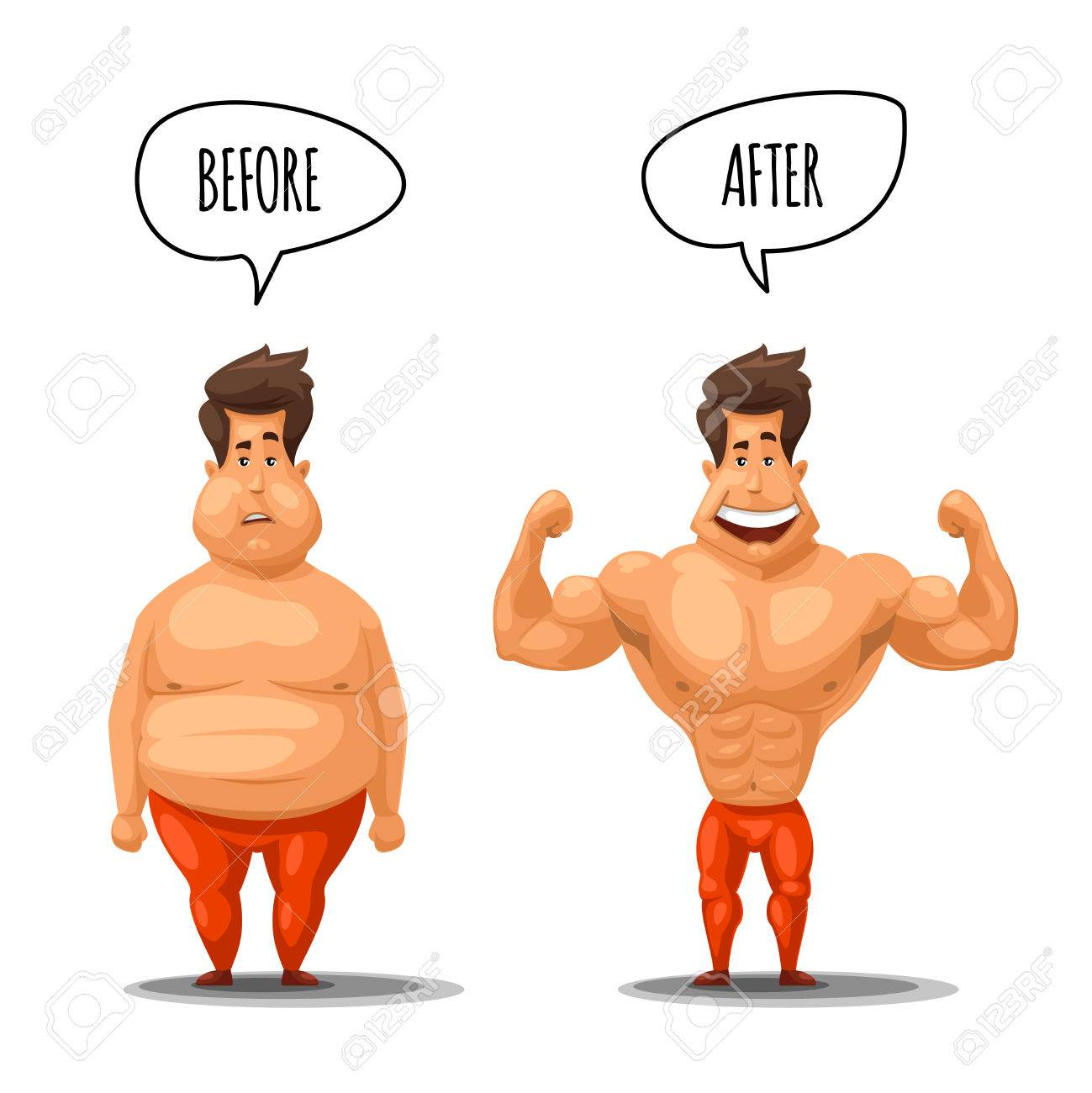 Weight loss. Man before and after diet vector illustration. Man...