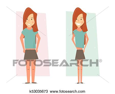 Thin and fat woman body transformation. Before and after weight loss.  Clipart.