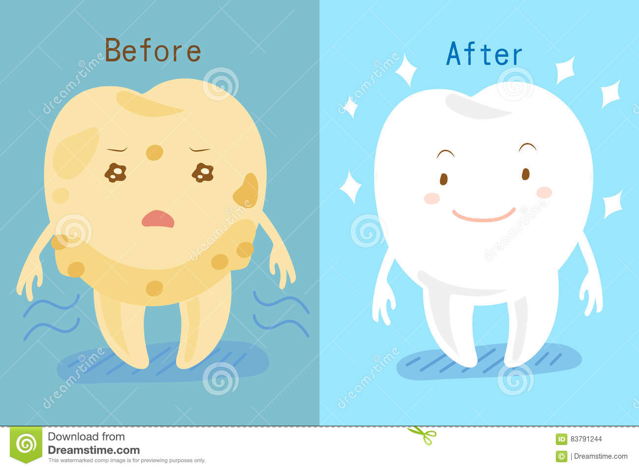 Tooth Whitening Before And After Stock Vector.