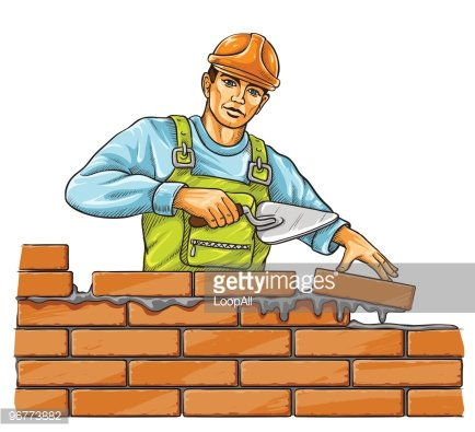 builder man with derby tool building a brick wall Clipart.