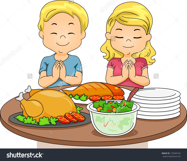 Illustration Boy Girl Praying Before Eating Stock Vector 122940163.