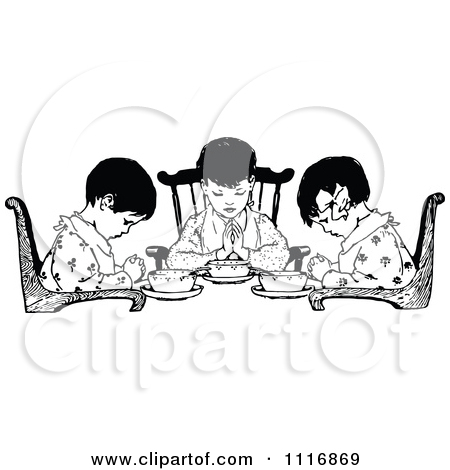 Clipart Vintage Mother Praying With Her Daughter.