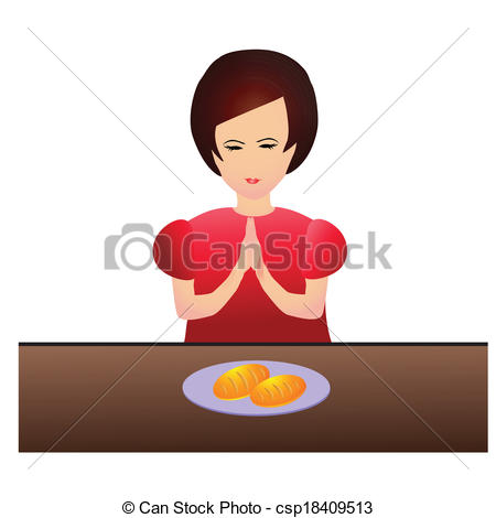 Vector Clip Art of Woman praying during dinner.