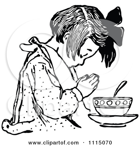 Clipart of a Retro Vintage Black and White Girl Eating Fruit.