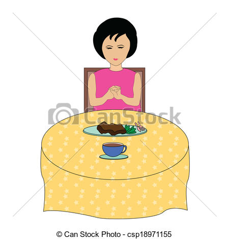 Clipart Vector of Girl praying during lunch.