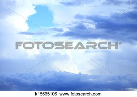 Stock Images of Deep blue sky with storm clouds before rain.