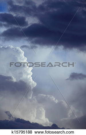 Pictures of Deep blue sky with storm clouds before rain k15795188.