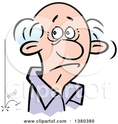 Clipart of a Befuddled Senior White Man Listening Though an Ear.