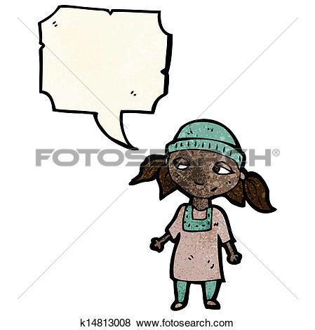 Clipart of cartoon poor girl k15525602.