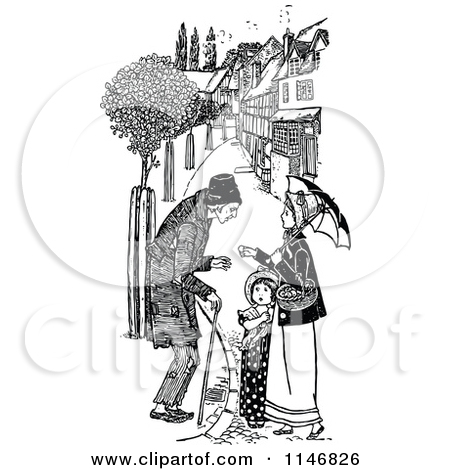 Clipart of a Retro Vintage Black and White Male Beggar and Woman.