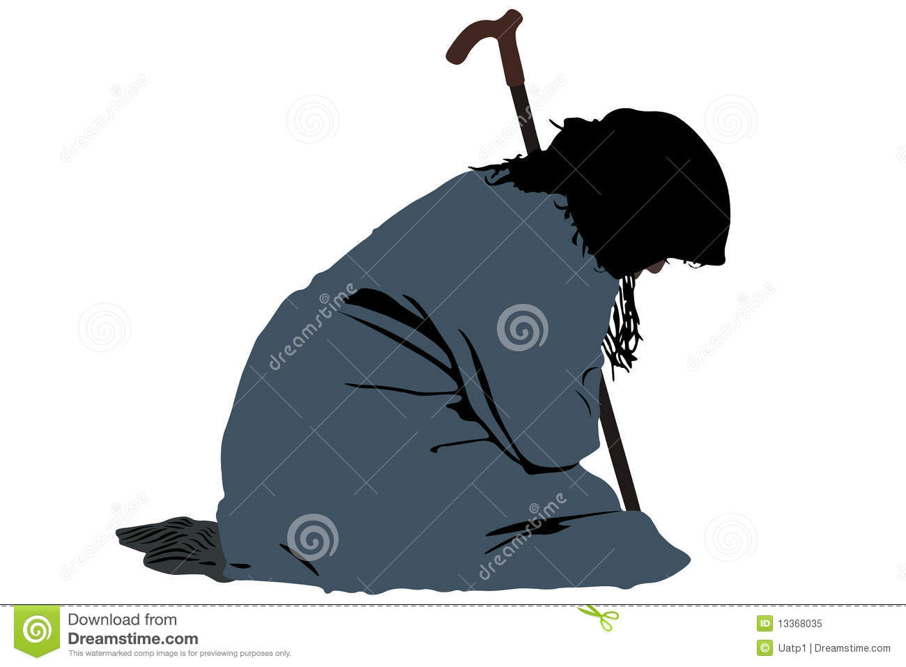 Clipart old woman on crutch.