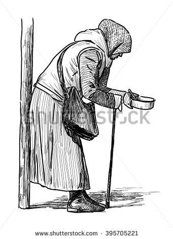 Old Beggar Woman Stock Vector 395705218.
