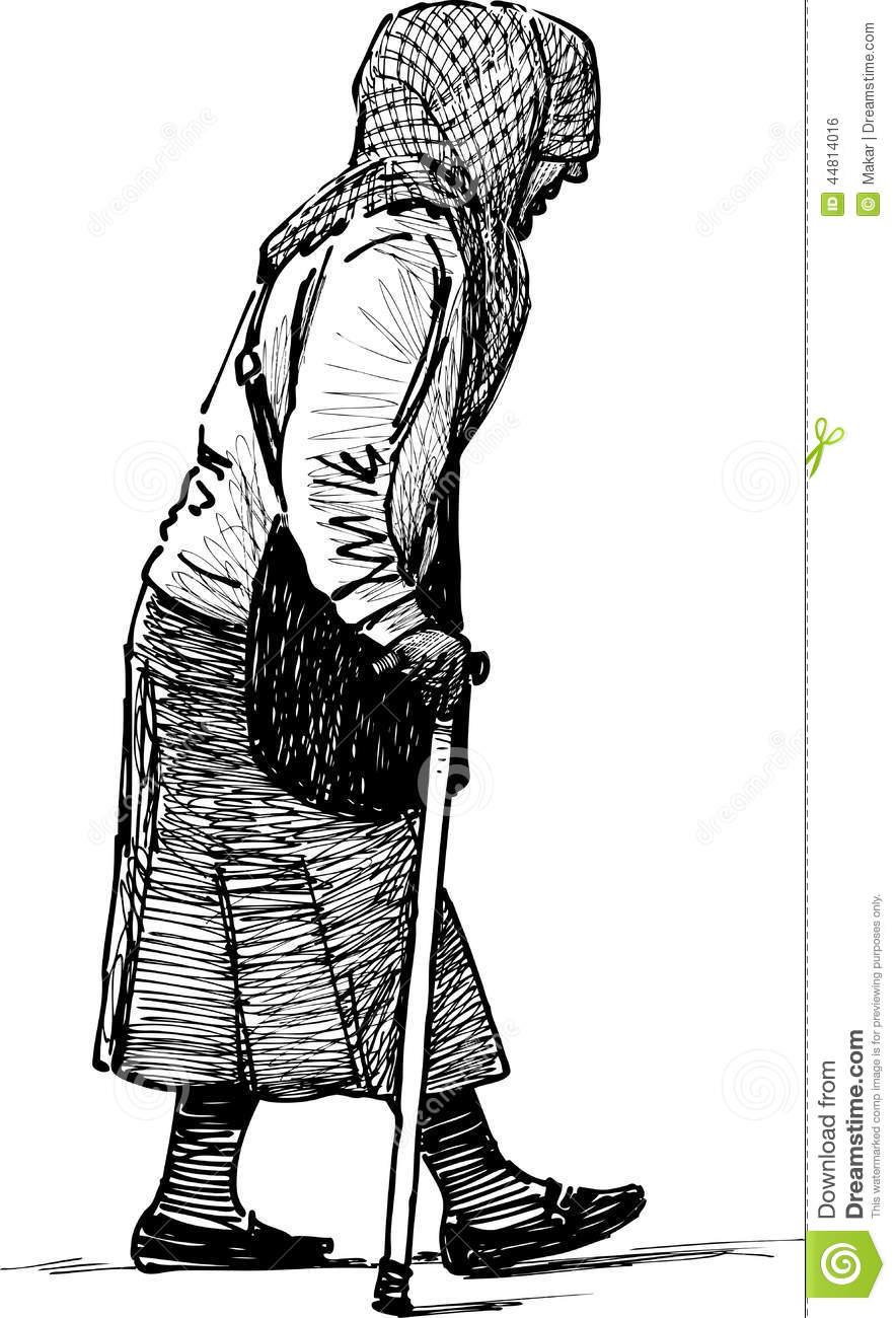 Poor Elderly Woman Stock Vector.