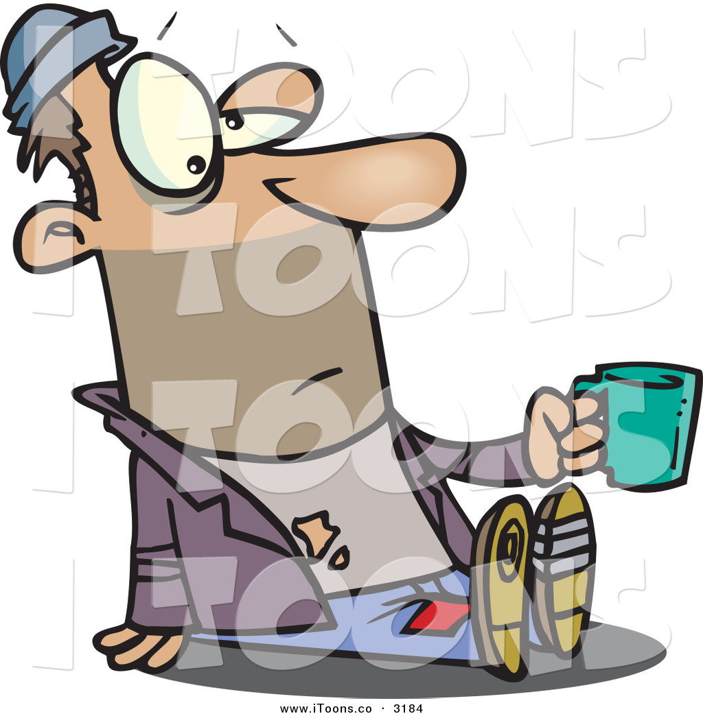 Vector Clip Art of a Caucasian Homeless Beggar Person Sitting on.