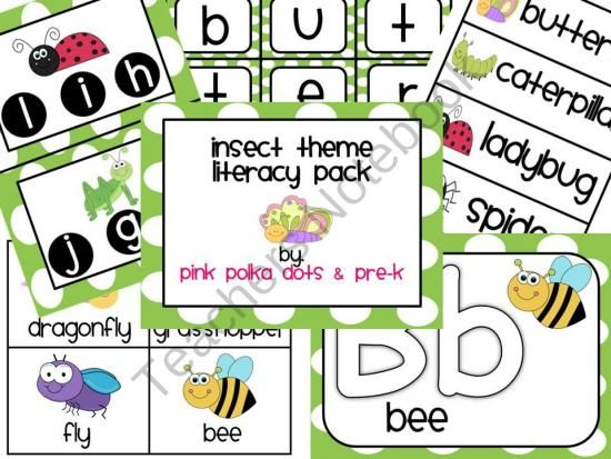 Insect Literacy Pack ~ 29 pages Skills: Beginning Sounds.