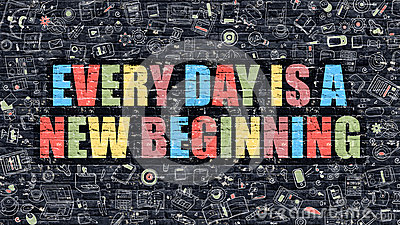 Every Day New Beginning Dark Brick Wall Stock Illustrations.