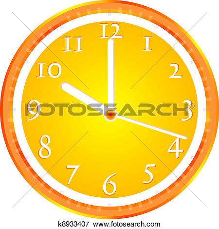 Clip Art of Wall clock, dial beginning of the working day k8933407.