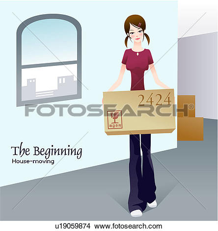 Drawings of moving, housemoving, indoors, start, beginning.